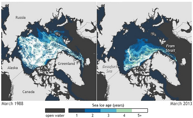 Map of Arctic sea ice thickness and extent, March 1988 vs. March 2013. Svalbard is the star-shaped land halfway between the coast of Norway in the upper right and Greenland. Image courtesy of the NOAA Climate.gov team, based on data provided by Mark Tschudi, University of Colorado.